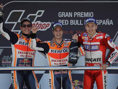 Márquez, Pedrosa y Lorenzo, en el podio del GP de España, en Jerez, el año pasado.