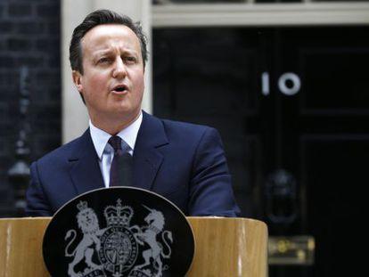 David Cameron comparece ante la prensa, este viernes.