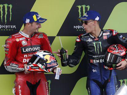 Jack Miller y Fabio Quartararo, segundo y primer clasificados para la carrera de MotoGP.