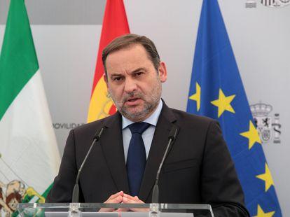 José Luis Ábalos, durante una comparecencia el pasado miércoles.