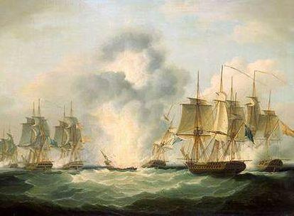 Óleo de Francis Sartorius sobre la explosión del buque  <i>La Mercedes</i>.