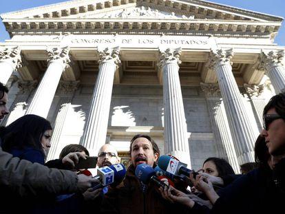 Pablo Iglesias, ante el Congreso de los diputados.