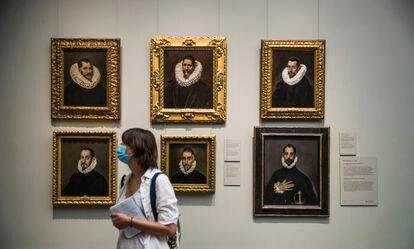 Seis retratos de El Greco, incluido el famosísimo 'El caballero de la mano en el pecho' (abajo a la derecha).