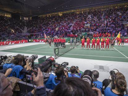 Fotógrafos en la Copa Davis, celebrada esta pasada semana en la Caja Mágica, en Madrid.