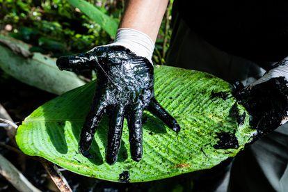 Mano manchada de petróleo. El 'Toxic Tour' pretende mostrar a los visitantes los enormes daños causados al medio ambiente durante años por las compañías petroleras.