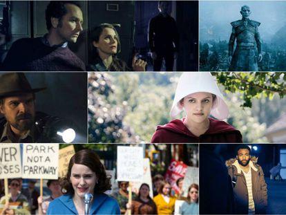 De izquierda a derecha, 'The Americans', 'Juego de tronos', 'Stranger Things', 'The Handmaid's Tale', 'The Marvelous Mrs. Maisel' y 'Atlanta'.