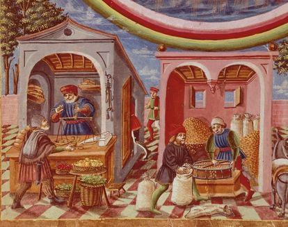 Miniatura italiana del siglo XV de una tienda de grano y frutas.