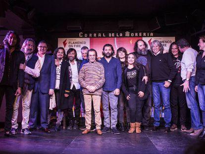 Artistas y organizadores del festival Flamenco on Fire, este miércoles en Madrid.