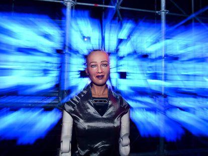 Sophia, un robot de Robot of Hanson Robotics, fotografiada durante el Web Summit de Lisboa, el pasado 7 de noviembre.