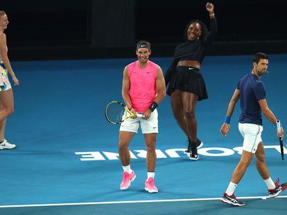 Kvitova, Nadal, Serena y Djokovic, durante un acto el pasado mes de enero en Melbourne. / GRAHAM DENHOLM (GETTY)