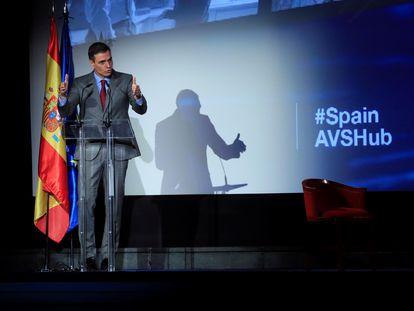 El presidente del Gobierno, Pedro Sánchez, durante la presentación del Plan Spain Audiovisual Hub, este 24 de marzo.