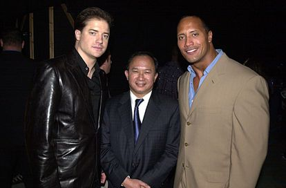 Brendan Fraser, John Woo and a young Dwayne Johnson in 2001. 'The Mummy' was one of his first big hits.