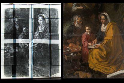 La obra <i>La educación de la Virgen</i> descubierta en el sótano de la Universidad de Yale y atribuida a la etapa sevillana de Velázquez. La obra, que será restaurada debido a su estado de gran deterioro, plantea un debate de calado internacional sobre la autoría definitiva del lienzo (Fotografía, cortesía de <i>Ars Magazine</i>).