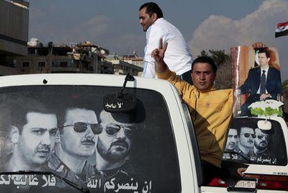 Manifestación de apoyo al presidente sirio, Bachar el Asad, en Damasco.