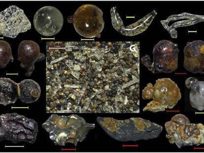 Algunos de los materiales vítreos hallados en las playas cercanas a Hiroshima.