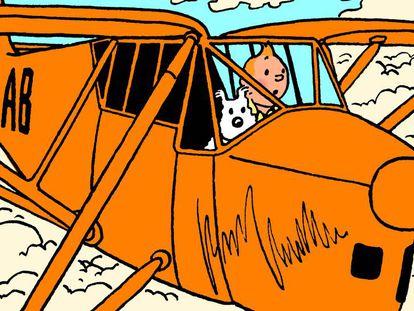 Tintin pilota un Puss Moth en Los cigarros del faraón
