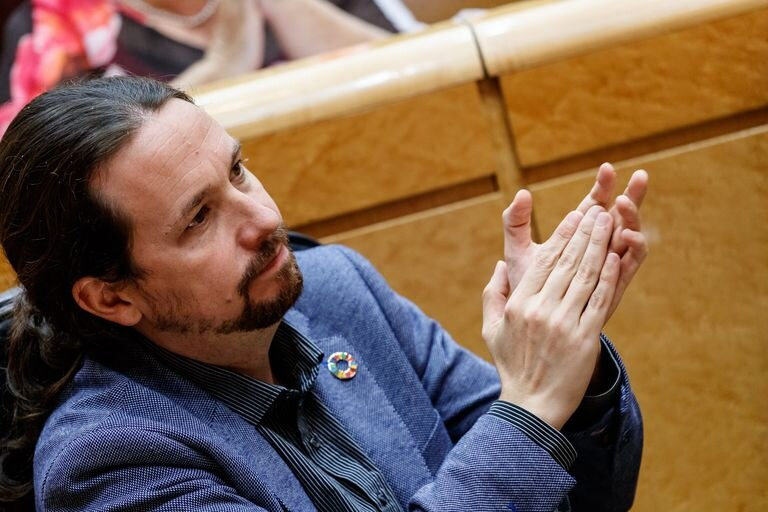 Pablo Iglesias, en la comisión de control al Senado, este martes.