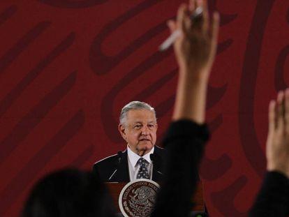 Andrés Manuel López Obrador en rueda de prensa tras la renuncia del secretario de Hacienda.