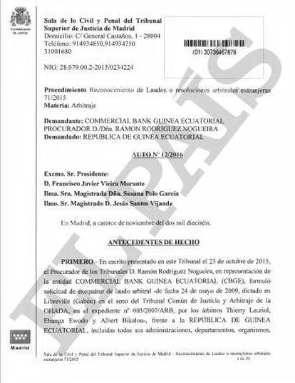 Auto del TSJM que reconoce en España el laudo arbitral africano.