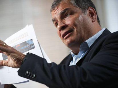 El expresidente de Ecuador Rafael Correa, durante una entrevista en Bruselas.
