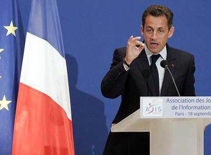 Nicolas Sarkozy, durante su discurso ante los periodistas económicos ayer en el Senado francés.