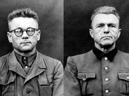 Karl Gebhardt (izquierda), junto a otro de los acusados sin identificar en el juicio contra los ejecutores del plan Aktion T4, celebrados en Bergen-Belsen entre septiembre y octubre de 1945.