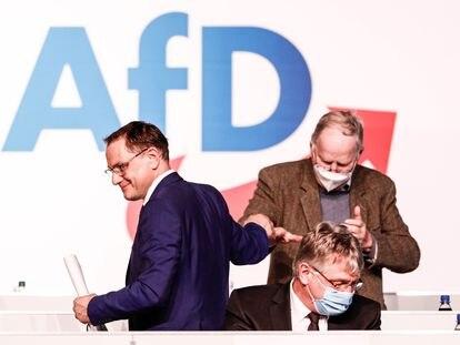 Los copresidentes de AfD Tino Chrupalla (izquierda) y Joerg Meuthen (derecha) se saludaban este sábado en el congreso del partido en Dresde.