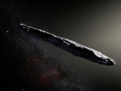 Recreación artística del objeto denominado Oumuamua, que atravesó el sistema solar.