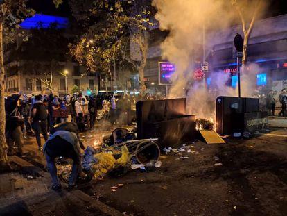 Sexta noche de protestas contra la sentencia del proceso independentista en Barcelona.