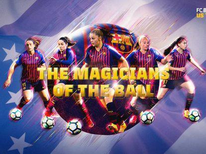 Alexia, Losada, Martens, Duggan y Alves en la imagen de la gira del Barça.