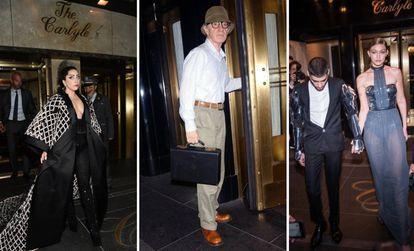 Lady Gaga (2015), Woody Allen (2007) y Gigi Hadid y Zayn Malik (2016) a las puertas del hotel Carlyle.