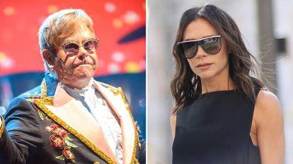El cantante británico Elton John y la diseñadora y cantante Victoria Beckham.