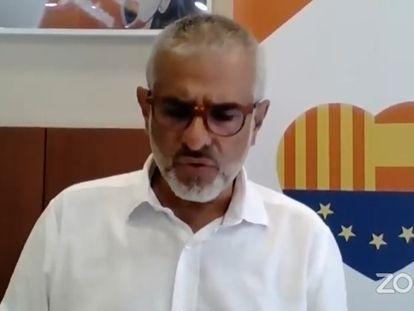 El líder de Cs en el Parlament, Carlos Carrizosa, en rueda de prensa telemática.