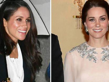 A la izquierda, Meghan Markle en Londres; a la derecha, Kate Middleton en Polonia este jueves.