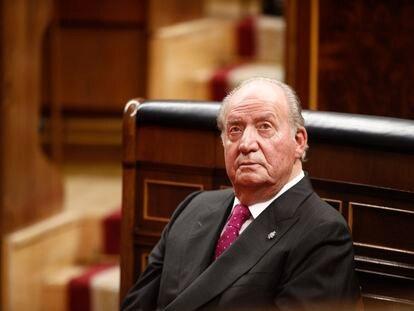 El rey emérito Juan Carlos I, en el Congreso de los Diputados, el 6 de diciembre de 2018.