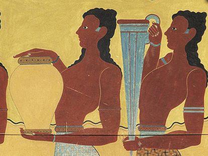 Fresco que representa a dos sirvientes transportando ánforas en el palacio de Knossos, en Creta (Grecia).