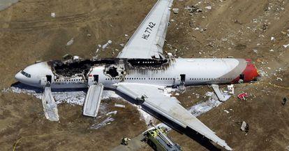 Imagen del Boeing777 que se estrelló en julio de 2013 en el aeropuerto de San Francisco.