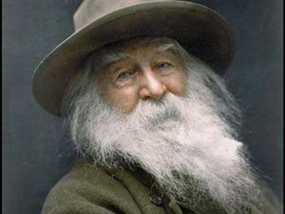 Un retrato de Walt Whitman coloreado por History Colors.