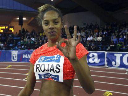 Yulimar Rojas, tras su victoria en el pabellón de Carabanchel.