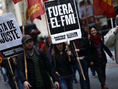Protestas en Buenos Aires contra el Fondo Monetario Internacional, en agosto de 2018.