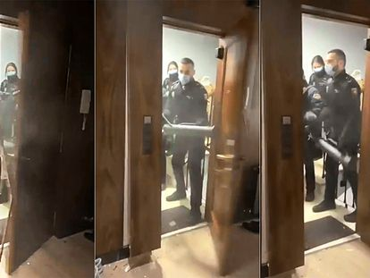 Secuencia de la entrada, el pasado marzo, de seis policías en un piso de Madrid durante el estado de alarma que ahora investiga un juez.