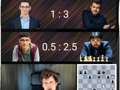Un momento de la retransmisión de la 5ª jornada. Tras ganar a Caruana, Carlsen comenta la partida de Firouzja con Nakamura