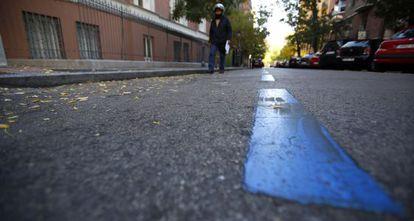 Zona azul sin coches, este viernes en el distrito madrileño de Chamberí
