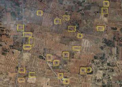 Extracto de los resultados obtenidos por la red neuronal. Los cuadros amarillos son potenciales hornos de ladrillos.