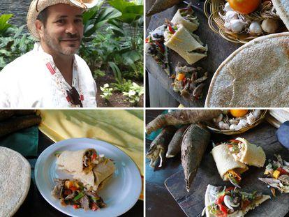 Arriba, El físico e historiador bayames Domingo Cuza, defensor del casabe y participante en el encuentro Cuba Sabe. En las otras imágenes, yuca brava, tortas de casabe y platos elaborados con este alimento indotaíno.