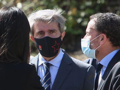 Desde la izquierda, Begoña Villacis, vicealcaldesa de Madrid; Ángel Garrico, exconsejero de Madrid, y Edmundo Bal, portavoz parlamentario de Cs y candidato a la presidencia de la Comunidad de Madrid, el 11 de Marzo.