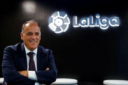 El presidente de LaLiga, Javier Tebas, en la sede de la patronal de clubes, en Madrid.