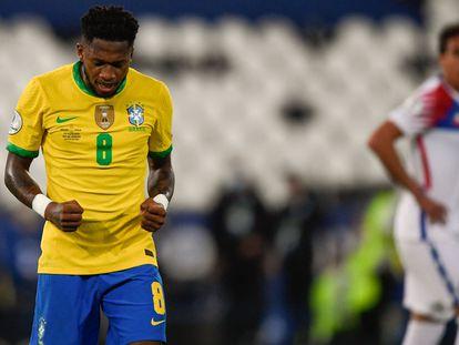 El brasileño Fred durante el partido de cuartos de final de Brasil contra Chile, en la Copa América.