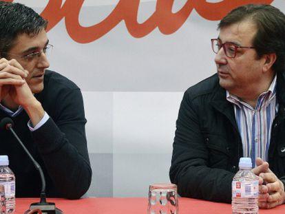 Madina y Fernández Vara, expresidente de Extremadura, la pasada semana.