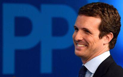 Pablo Casado, líder del Partido Popular. el domingo 28 por la noche, tras conocer los resultados electorales.